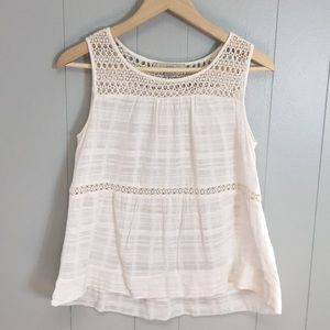 LOFT Eyelet Embroidered White Sleeveless Top S